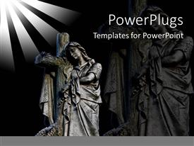 PowerPoint template displaying merry with a holy cross and her figure in the background