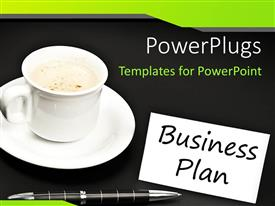 PowerPlugs: PowerPoint template with business plan with ball point pen and cup of coffee on black background