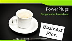 PowerPoint template displaying business plan with ball point pen and cup of coffee on black background