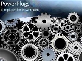 PowerPlugs: PowerPoint template with metal gears and wheels turning machines as a metaphor on a grey background