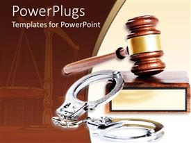PowerPoint template displaying metal handcuffs next to wooden gavel and block