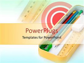 PowerPlugs: PowerPoint template with metal pencil case holding school supplies white red target background