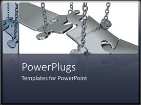 PowerPlugs: PowerPoint template with metal puzzle chains metaphor missing problem solution grey background