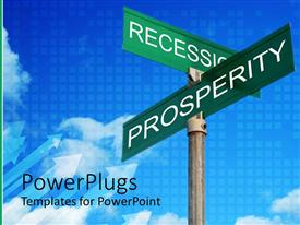 PowerPoint template displaying metal sing posts with inscriptions RECESSION and PROSPERITY