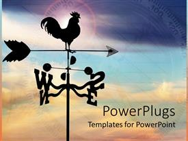 PowerPoint template displaying metal wind vane with cock on arrow and anemometer