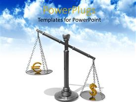 PowerPlugs: PowerPoint template with metallic balance with a golden dollar and euro symbol
