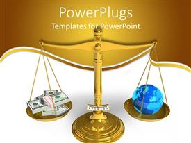 PowerPoint template displaying metallic balance scale with dollar bill bundles and globe on plates