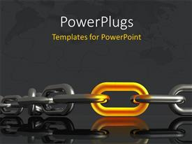 PowerPoint template displaying metallic chain with distinct yellow piece and reflection in background
