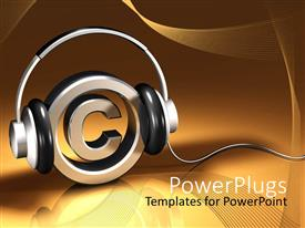 PowerPoint template displaying metallic circle with a copywrite symbol with headphones on it