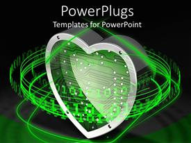 PowerPoint template displaying metallic heart shaped symbol with lots of binary codes