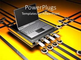 PowerPoint template displaying metallic laptop on yellow circuit board with silver circuit lines
