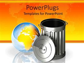 PowerPlugs: PowerPoint template with metallic metal trash can next to clear globe in yellow background