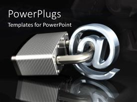 PowerPlugs: PowerPoint template with a metallic padlocked locked around an @ sign on a black background