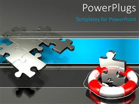 PowerPoint template displaying metallic puzzle piece with lifebuoy, with puzzles