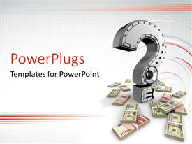 PowerPlugs: PowerPoint template with a metallic question mark and bundles of dollar bills
