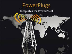 PowerPlugs: PowerPoint template with metallic radio tower with glowing orange radio waves and world map in background