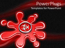 PowerPlugs: PowerPoint template with metallic silver biohazard symbol on red splatter
