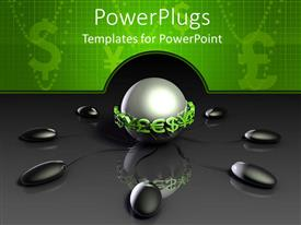 PowerPlugs: PowerPoint template with metallic silver sphere surrounded by green currencies and connected to several black computer mouse