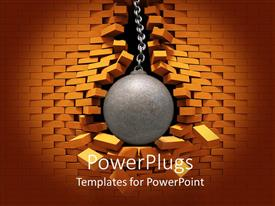 PowerPlugs: PowerPoint template with metallic wrecking ball bursting through red brick wall