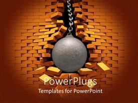PowerPoint template displaying metallic wrecking ball bursting through red brick wall
