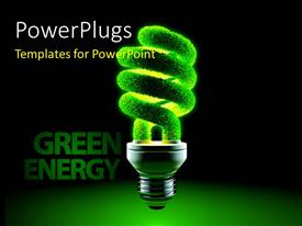 PowerPoint template displaying metaphor of energy saving lamps - glass twisted tube is covered with grass with Green Energy keyword in background