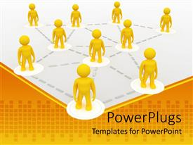 PowerPlugs: PowerPoint template with metaphor for franchise, teamwork, networking with yellow men connected by silver dotted lines
