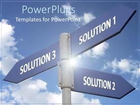 PowerPlugs: PowerPoint template with metaphor for problem solving with solution street signs pointing in different directions