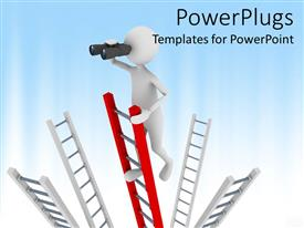 PowerPlugs: PowerPoint template with metaphor for searching with man climbing ladder using binoculars