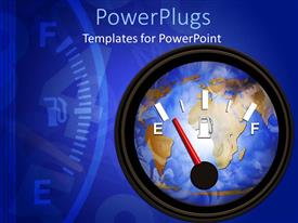 PowerPlugs: PowerPoint template with a meter indicating the amount of petrol left along with the need to refill