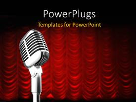 PowerPlugs: PowerPoint template with mic over red swag theater curtain background