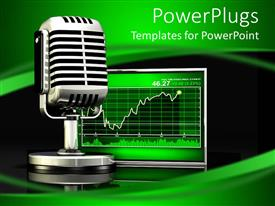 PowerPlugs: PowerPoint template with a mic with stock market chart on the screen