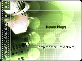 PowerPlugs: PowerPoint template with microchip green science and technology geometric shapes computers electronics