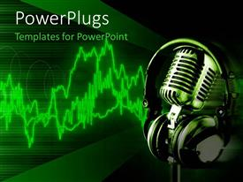 PowerPlugs: PowerPoint template with microphone with a big headphone over it on a green background