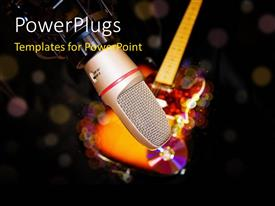 PowerPlugs: PowerPoint template with a microphone with a guitar and some discs on the background