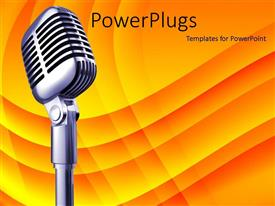 PowerPlugs: PowerPoint template with microphone on orange wave background, music