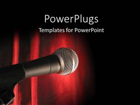 PowerPlugs: PowerPoint template with a microphone with reddish background and place for text