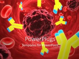 PowerPlugs: PowerPoint template with microscopic view of lots of red blood cells and antibodies