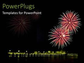 PowerPlugs: PowerPoint template with mid night view of lighted up fireworks in the sky