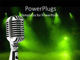 PowerPlugs: PowerPoint template with a mike with greenish background and place for text