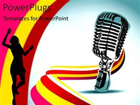 PowerPoint template displaying a mike with a number of colors in the background and a girls
