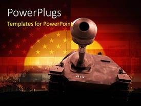 PowerPoint template displaying military armored tank for war and United States flag in background