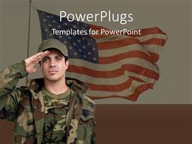 PowerPoint template displaying military concept with soldier saluting in front of American flag