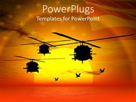 PowerPlugs: PowerPoint template with military helicopters flying over sea sunset sky and American flag i background