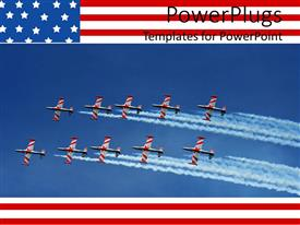 PowerPoint template displaying uS military naval jets flying in formation on blue sky, American flag border, patriotic, USA