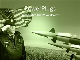 PowerPlugs: PowerPoint template with military officer salutes before the United States flag with three rockets