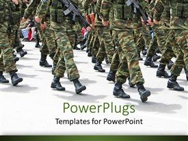 PowerPlugs: PowerPoint template with military parade background depicting soldiers marching in army parade