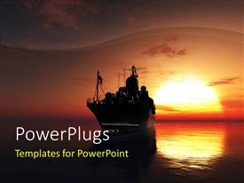 PowerPlugs: PowerPoint template with military ship in the sea with sunset in the background