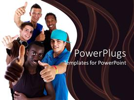 PowerPoint template displaying millennial teenagers giving thumbs up sign, success, diversity