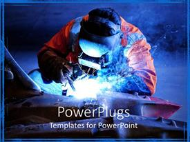 PowerPlugs: PowerPoint template with mining equipment welding done by an engineer