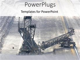 PowerPlugs: PowerPoint template with mining industry depicting mining machinery on oil field on gray background